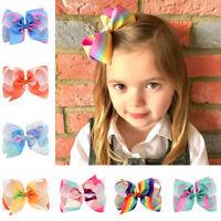 Girl Rainbow Bows Hair Clip large rib Grosgrain Ribbon Bow Hairpin Baby