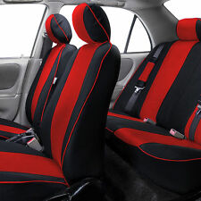 Stylish Edgy Piping Car Seat Covers Full Set For Car SUV Van Red
