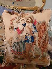 Stunning Antique early Victorian needlepoint / needlework cushion /pillow