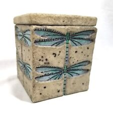 United Design Corp 1998 Turquoise Blue Dragonfly Square Resin Box with Lid