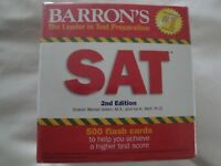 Fabulous New Barron's SAT 2nd Edition 500 Flash Cards-Factory Sealed Closed