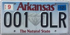 GENUINE Arkansas Natural State Diamond USA License Licence Number Plate 001 OLR