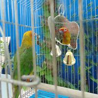 Parrot Chew Bite Bell Mirror Play Toys Swing Pet Bird Parakeet Cage Hanging Toy&