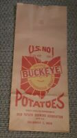 Vtg BUCKEYE POTATOES BAG unused COLUMBUS OHIO POTATO GROWERS ASSOCIATION 15 LBS