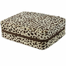 4 Watch Travel Box Snow Leopard Pattern Zippered Storage Case Mens Gifts