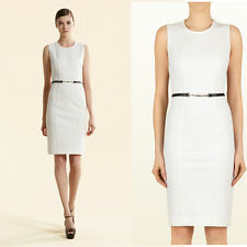 sz L NEW $1800 GUCCI White Jersey LEATHER HORSEBIT BELTED Summer Shift DRESS 6/8