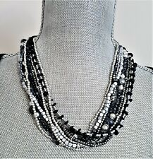 STEPHAN & CO SILVER BLACK GREY BEADED MULTI LAYER NECKLACE