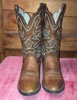 ARIAT 6B leather western cowboy boots, tan/light brown w/lt blue stitching