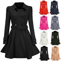 Women's Woolen Winter Long Peacoat Coat Trench Outwear Jacket Overcoat Outwear L