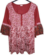 Neuf Femmes 3/4 Bras Long Shirt Tunique Bordo Rouge Multicolore Col Rond Motif