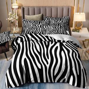 Zebra Stripes Duvet Quilt Cover Bedding Set with Pillowcases Single Double King