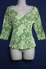 Liz Claiborne First Issue L Large 3/4 Sleeves Top Green Aloha Flowers Hawaii