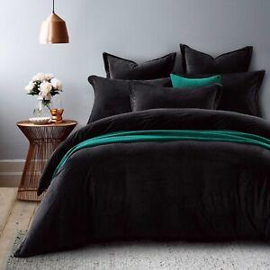 New Ivory & Deene Black Velvet Fur King Size Quilt Doona Duvet Cover Bed Set