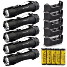5Sets Tactical Zoomable led Flashlight Torch 14500 AA Light Lamp Battery&Charger