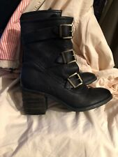 """Womens Size 40 Black Ankle Boots, 3"""" Heel, Strap Fastening, Real Leather"""