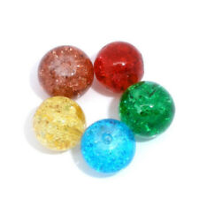 100 Pcs Mixed Crackle Glass Round Beads 8mm Dia. Q8L1 T5Y4