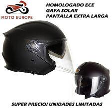 Casco Moto Jet vespa, custom, cafe racer, urbano negro mate CON GAFA SOLAR