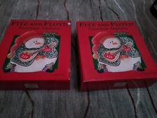 Pair (2) Fitz and Floyd 2004 Snowman Jamboree Canape Plates new in Box. Nice!;