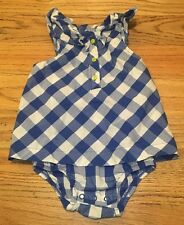 Carters Baby Girl Size18 Months Blue Plaid Easter Summer Romper 1 Piece-Outfit