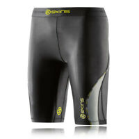 Skins Womens DNAmic Compression Half Tights Bottoms Pants Trousers Black Yellow