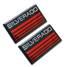 2x New Red Line Cab Silverado Emblems Badges Side Roof Pillar Plate For Chevy