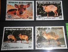 "FRANCOBOLLI COSTA D'AVORIO - IVORY COAST 1985 ""WWF - ANIMALS"" USED SET (CAT.X)"