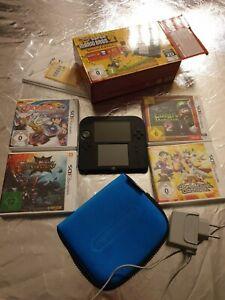 Nintendo 2ds Konsole super Mario schwarz + 4 Spiele + R4 Adapter