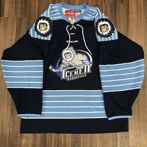CCM Evansville Icemen Minor League ECHL Hockey Jersey Navy Blue Home M