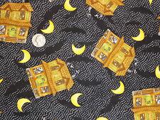 Debbie Mumm Halloween Haunted House Moons Bats Fabric Cotton Fabric Remnants