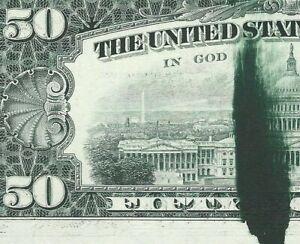 1977 $50 FEDERAL RESERVE NOTE LARGE INK SMEAR ERROR-PMG 66 GEM UNC - BEAUTIFUL