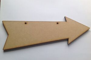 Arrow Sign Plaque, x 3, with two holes, 6mm thick MDF