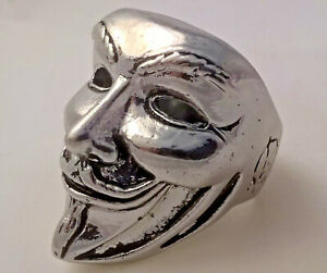 Stainless Steel Guy Fawkes Men's ring Anonymous mask Vendetta HUGE 21 gs size 10