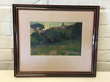 Possibly Vintage Oil Painting Landscape w/ Trees & Building in Background