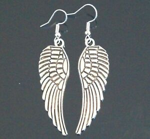 Angel Wings Tibetan Silver Drop Earrings Boho Wicca Pagan Silver Protection