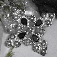 sehr schöner Kreuz Anhänger 925 Silber mit Zuchtperle Spinell Handgeschmidet