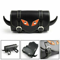 New Universal Motociclo Black PU Leather Handlebar Sissy Bar Bisaccia Tool Bag