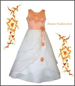 Blumenmädchenkleid ~ Festkleid ~ Selina ~ in apricot-weiß ~ mit Rückenschnürung