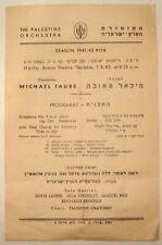 Jewish 1942 Palestine Orchestra Theatre Brochure Program Michael Taube Israel