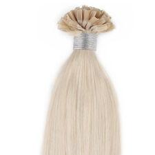 "18"" Remy Human Pre Bonded Nail U Tip Keratin Glue Hair Extension 60# Blonde 50s"