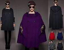 Women wool blend Cape Hoodie COAT yj089 PLUS 1X2X3X4X5X6X7X8X9X10X(size16-52