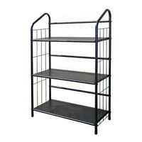 Black Outdoor Patio Plant Stand / Casual Metal Bookcase 3 Tier Shelf Unit
