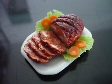 Dollhouse Miniatures Ham Tomato Plate Food Dinner Thanksgiving 6