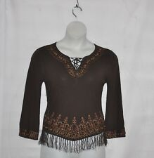 Michelle Nicole Embroidered And Beaded Knit Top With Tie Size S Chocolate