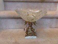 """Vintage Hollywood Regency Brass Glass Marble Crystals Compote Centerpiece 10"""""""