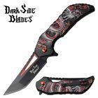 "Spring-Assist Folding Knife 3.25"" Black Red Tanto Blade Dragon Fantasy EDC"