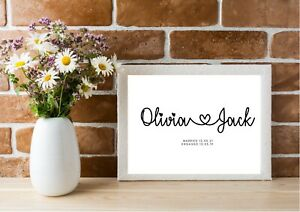 Personalised Couples Name Print   Wedding Gift   Engagement Gift   Anniversary