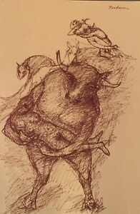 """Robert Broderson """"Bull Cradling"""" Pen and Ink drawing on paper (C)1970, 19""""X12"""""""