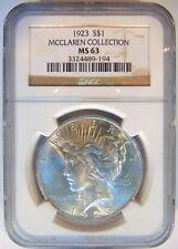 1923 Silver Peace Dollar NGC MS 63 McClaren Collection Hoard Pedigree Rare Coin