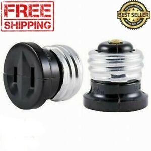 2-Pack Light Bulb Handy Plug Black Polarized Two Outlet Socket Adapter Converter