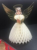 Christmas Vintage Angel Gold Wings Halo Die Cut Centerpiece Honeycomb Beistle